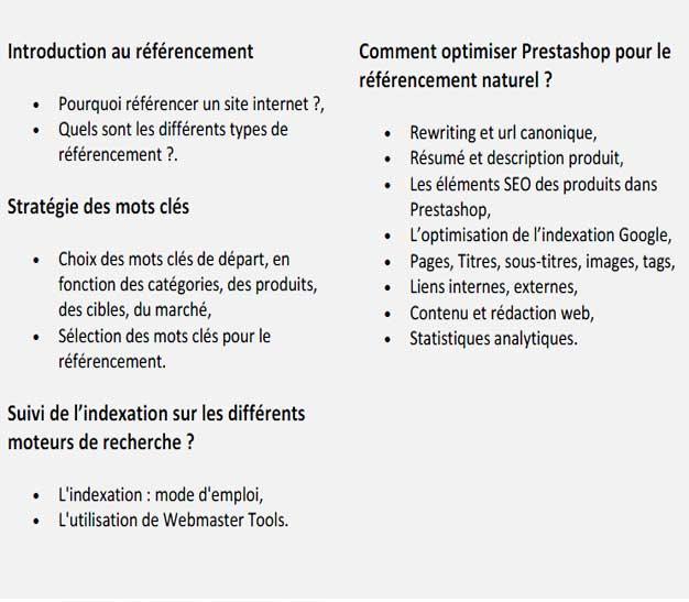 Programme formation referencement Prestashop