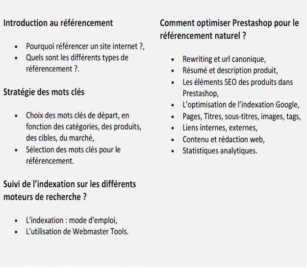 Programme formation referencement Prestashop